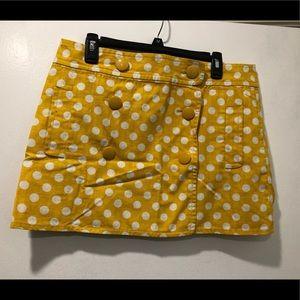 J.Crew yellow polka dot skirt